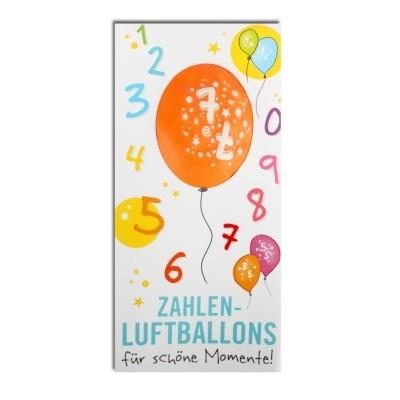 Luftballon, ZAHL 7, Pappschuber 10 cm x 5 cm