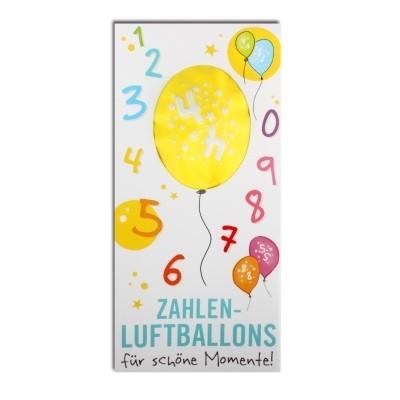 Luftballon, ZAHL 4, Pappschuber 10 cm x 5 cm