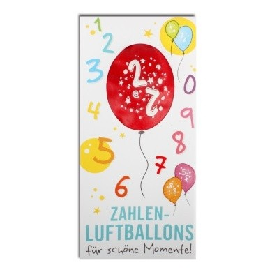 Luftballon, ZAHL 2, Pappschuber 10 cm x 5 cm