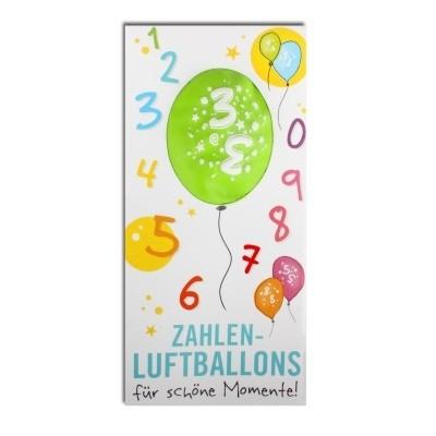 Luftballon, ZAHL 3, Pappschuber 10 cm x 5 cm