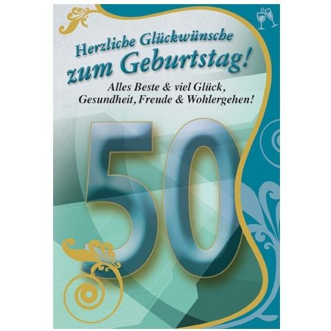 Klappkarte Zahlengeburtstag, 50.Geburtstag, DIN C6