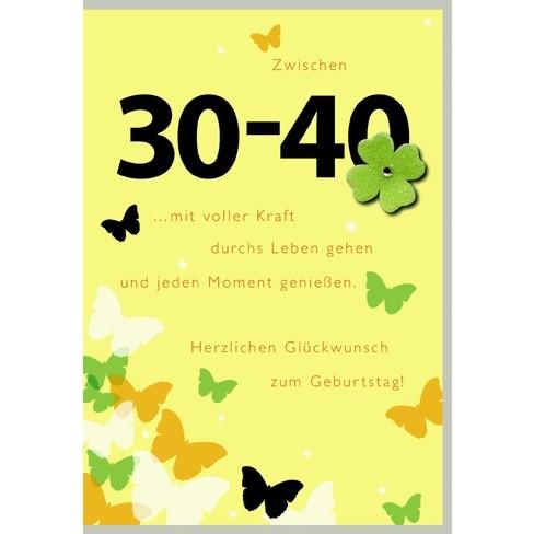 Klappkarte Zahlengeburtstag, 30.- 40.Geburtstag, DIN C6
