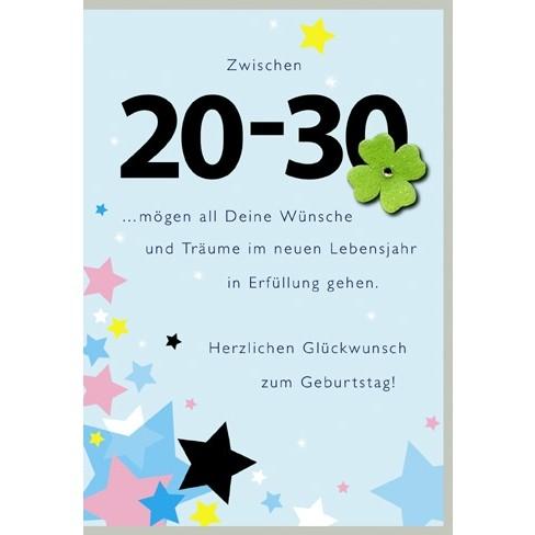 Klappkarte Zahlengeburtstag, 20.Geburtstag, DIN C6