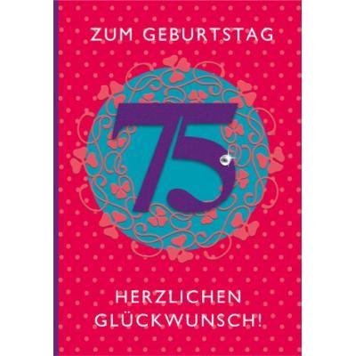 Klappkarte Zahlengeburtstag, 75.Geburtstag, DIN C6