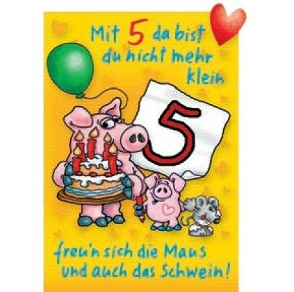 Klappkarte Kindergeburtstag, 5.Geburtstag, DIN C6