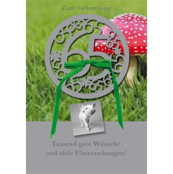 Klappkarte Zahlengeburtstag, 65.Geburtstag, DIN C6