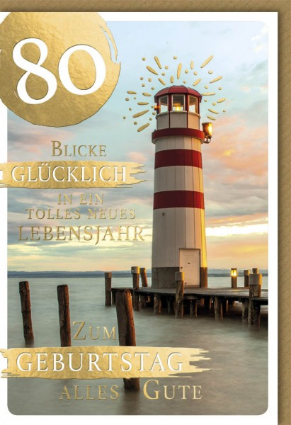 Klappkarte Zahlengeburtstag, 80.Geburtstag, DIN C6