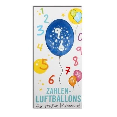 Luftballon, ZAHL 9, Pappschuber 10 cm x 5 cm