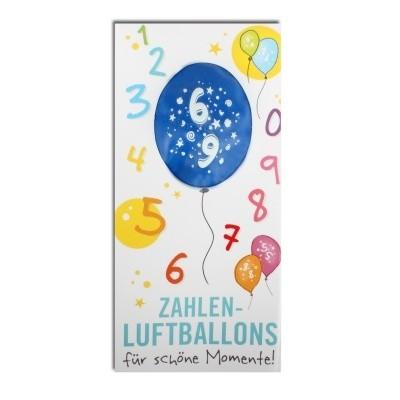 Luftballon, ZAHL 6, Pappschuber 10 cm x 5 cm