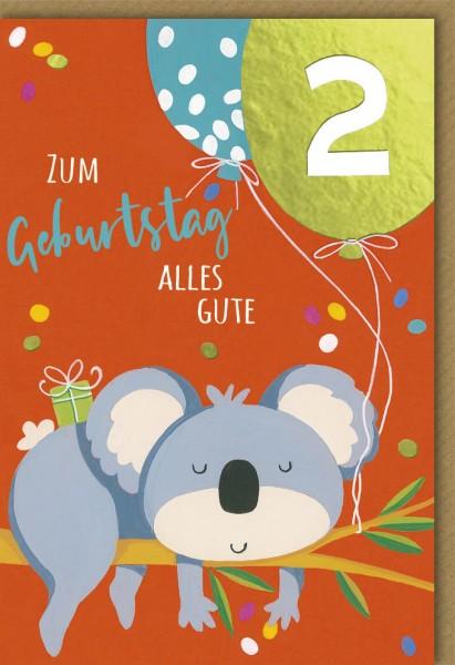 Klappkarte Kindergeburtstag, 2.Geburtstag, DIN C6